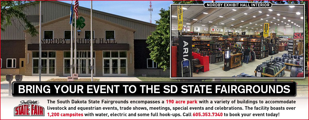 The South Dakota State Fairgrounds encompasses a 190 acre park with a variety of building to accomidate livestock and equestrian events, trade shows meetings, special events, and celebrations. The facility boasts over 1200 campsites with water, electric, and some full hook-ups. Call 605-353-7340 to book your event today.