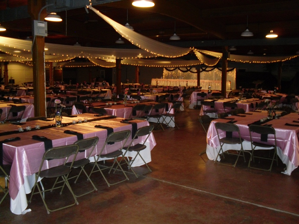 Interior photo of the Family Living Center decorated for an upcoming event.